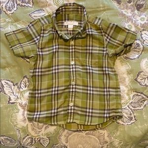 Adorable green Burberry kids button down